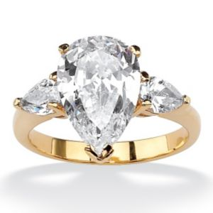 Pear-Shaped Cubic Zirconia Ring
