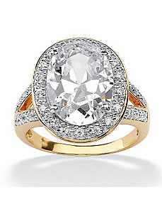 Oval-Cut and Round Cubic Zirconia Ring by PalmBeach Jewelry