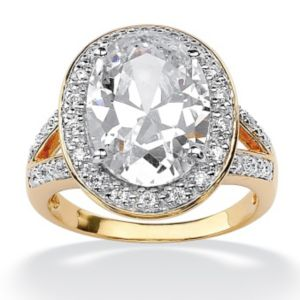 Oval-Cut and Round Cubic Zirconia Ring