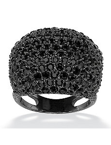 Black Crystal Dome Ring by PalmBeach Jewelry