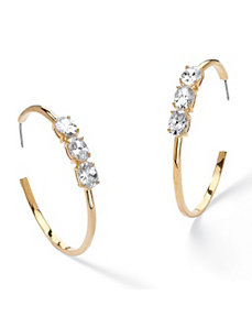 Cubic Zirconia Open Hoop Earrings by PalmBeach Jewelry