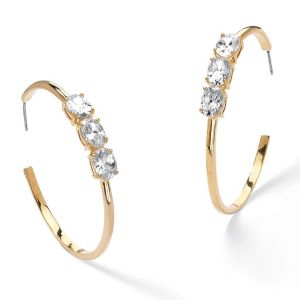 Cubic Zirconia Open Hoop Earrings