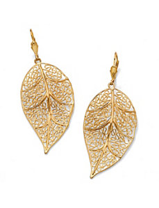 Filigree Leaf Drop Earrings by PalmBeach Jewelry