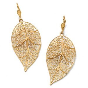 Filigree Leaf Drop Earrings