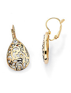 Filigree Pear-Shaped Earrings by PalmBeach Jewelry