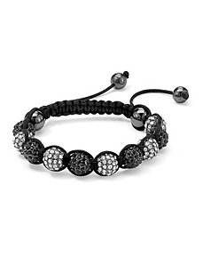 Black & White Crystal Ball Bracelet by PalmBeach Jewelry