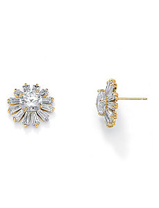 Crystal Starburst Pierced Earrings by PalmBeach Jewelry