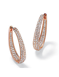 Oval Inside-Out Cubic Zirconia Huggie Earrings by PalmBeach Jewelry