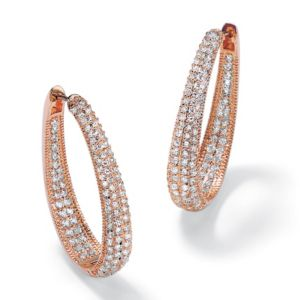 Oval Inside-Out Cubic Zirconia Huggie Earrings