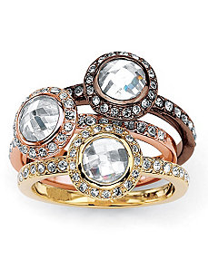 Cubic Zirconia/Crystal Set of Three Stack Rings by PalmBeach Jewelry