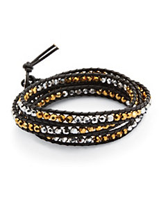 Grey/Amber-Colored Crystal Bracelet by PalmBeach Jewelry