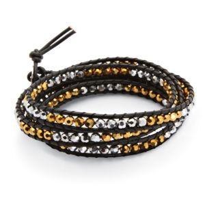 Grey/Amber-Colored Crystal Bracelet