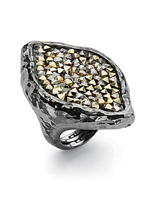 Crystal Hammered-Style Ring by PalmBeach Jewelry
