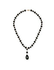 Onyx Beaded and Briolette Necklace by PalmBeach Jewelry