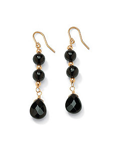 Onyx Drop Pierced Earrings by PalmBeach Jewelry