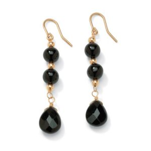 Onyx Drop Pierced Earrings