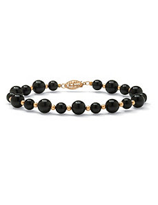 Onyx Beaded Bracelet by PalmBeach Jewelry