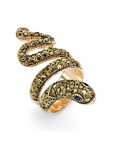 Crystal Coiled Snake Ring by PalmBeach Jewelry
