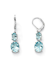 Blue Topaz Drop Pierced Earrings by PalmBeach Jewelry