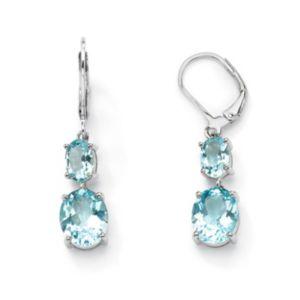 Blue Topaz Drop Pierced Earrings