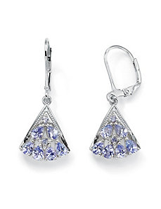 Tanzanite Fan-Shaped Earrings by PalmBeach Jewelry