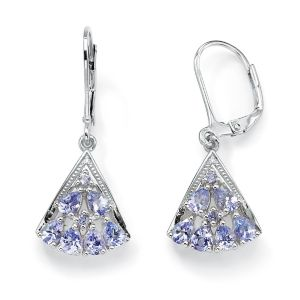 Tanzanite Fan-Shaped Earrings