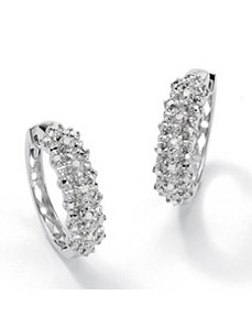 Round Ice Diamond Huggie Earrings by PalmBeach Jewelry
