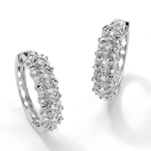 Round Ice Diamond Huggie Earrings