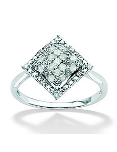 Ice Diamond Square-Shaped Ring by PalmBeach Jewelry