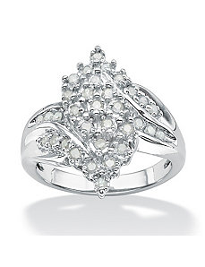 Ice Diamond Cluster Swirl Ring by PalmBeach Jewelry
