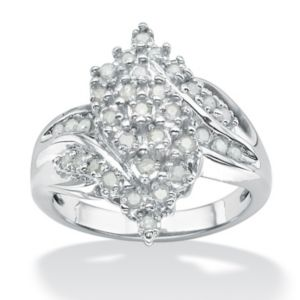 Ice Diamond Cluster Swirl Ring