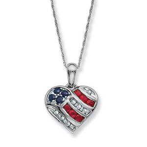Heart-Shaped Patriotic Pendant