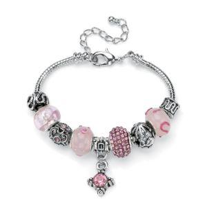 Pink Crystal Bali-Style Bracelet