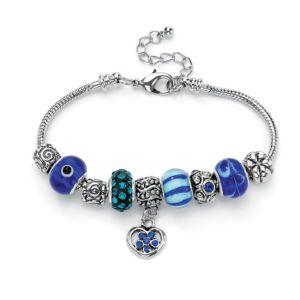 Blue Crystal Bali-Style Bracelet