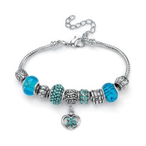 Aquamarine-Colored Crystal Bracelet