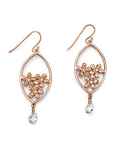 Cubic Zirconia Flower Bouquet Pierced Earrings by PalmBeach Jewelry