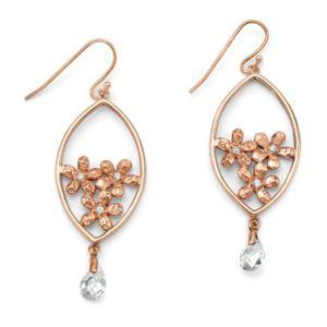 Cubic Zirconia Flower Bouquet Pierced Earrings