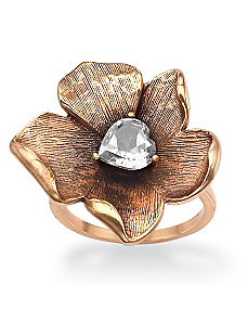 Cubic Zirconia Open Flower Ring by PalmBeach Jewelry