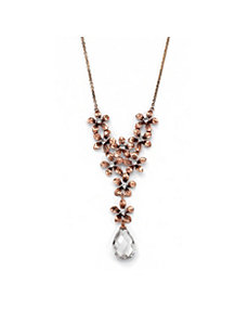 Cubic Zirconia/Crystal Flower Bouquet Necklace by PalmBeach Jewelry