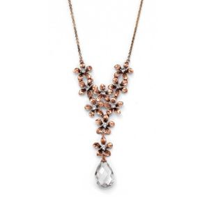 Cubic Zirconia/Crystal Flower Bouquet Necklace