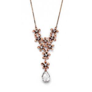 Cubic Zirconia/Crystal Flower Bouquet Necklace