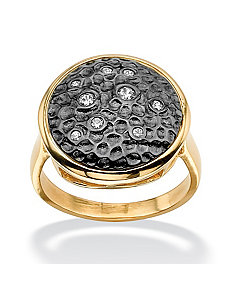 Cubic Zirconia Hammered-Style Circle Ring by PalmBeach Jewelry