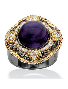 Purple Glass & Cubic Zirconia Ring by PalmBeach Jewelry