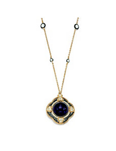 Purple Glass & Cubic Zirconia Pendant-Necklace by PalmBeach Jewelry