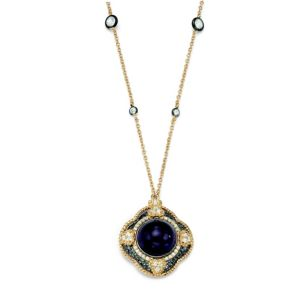 Purple Glass & Cubic Zirconia Pendant-Necklace
