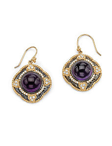 Purple Glass & Cubic Zirconia Pierced Earrings by PalmBeach Jewelry