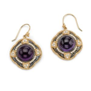 Purple Glass & Cubic Zirconia Pierced Earrings