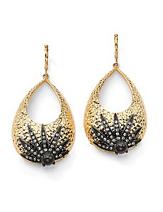 Hammered-Style Crystal Earrings by PalmBeach Jewelry