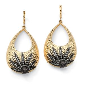 Hammered-Style Crystal Earrings