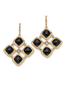 Black Lucite Checkerboard Earrings by PalmBeach Jewelry